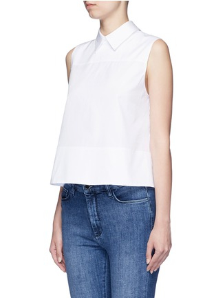 Front View - Click To Enlarge - VICTORIA, VICTORIA BECKHAM - Tie back poplin sleeveless shirt