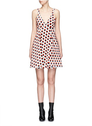Main View - Click To Enlarge - VICTORIA, VICTORIA BECKHAM - Strawberry jacquard plunge V-neck dress
