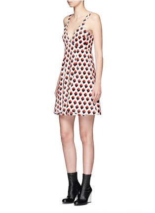 Figure View - Click To Enlarge - VICTORIA, VICTORIA BECKHAM - Strawberry jacquard plunge V-neck dress