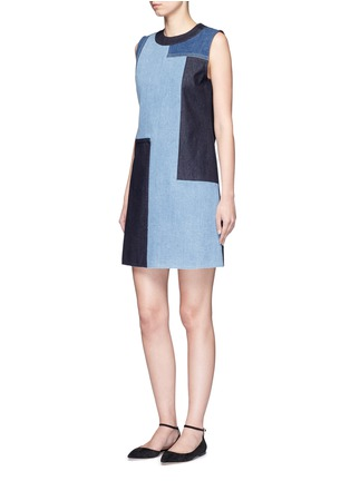 Figure View - Click To Enlarge - VICTORIA, VICTORIA BECKHAM - Patchwork denim sleeveless dress