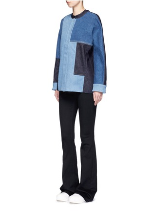 Figure View - Click To Enlarge - VICTORIA, VICTORIA BECKHAM - Patchwork denim jacket