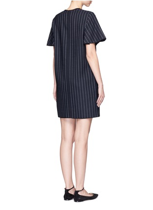 Back View - Click To Enlarge - VICTORIA, VICTORIA BECKHAM - Pinstripe wool blend shift dress