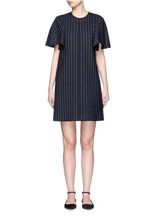 Main View - Click To Enlarge - VICTORIA, VICTORIA BECKHAM - Pinstripe wool blend shift dress