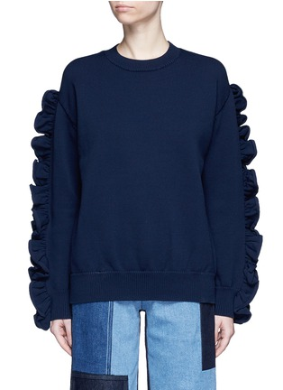 Main View - Click To Enlarge - VICTORIA, VICTORIA BECKHAM - Ruffle sleeve sweater
