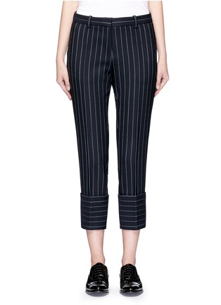 Main View - Click To Enlarge - VICTORIA, VICTORIA BECKHAM - Pinstripe wool blend cropped pants