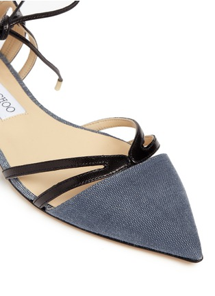 Detail View - Click To Enlarge - Jimmy Choo - 'Hime' leather trim canvas flats