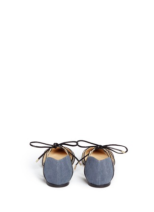 Back View - Click To Enlarge - Jimmy Choo - 'Hime' leather trim canvas flats