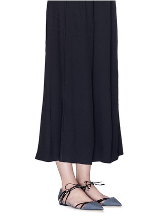 Figure View - Click To Enlarge - Jimmy Choo - 'Hime' leather trim canvas flats