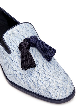 Detail View - Click To Enlarge - Jimmy Choo - 'Foxley' crinkle suede tassel slip-ons