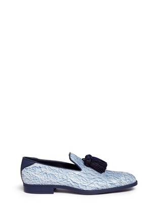 Main View - Click To Enlarge - Jimmy Choo - 'Foxley' crinkle suede tassel slip-ons