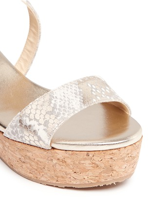 Detail View - Click To Enlarge - JIMMY CHOO - 'Portia' snake print suede cork wedge platform sandals