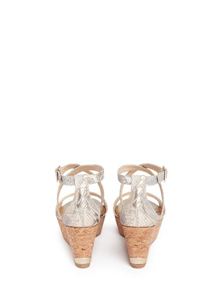 Back View - Click To Enlarge - JIMMY CHOO - 'Portia' snake print suede cork wedge platform sandals