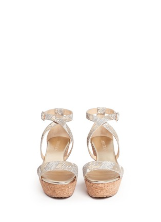Front View - Click To Enlarge - Jimmy Choo - 'Portia' snake print suede cork wedge platform sandals