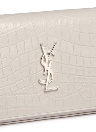 Detail View - Click To Enlarge - SAINT LAURENT - 'Monogram' croc embossed leather chain wallet
