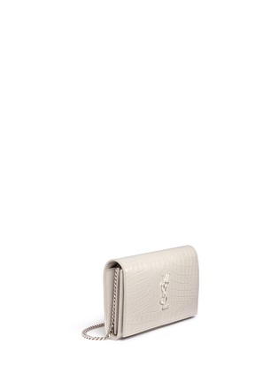 Front View - Click To Enlarge - SAINT LAURENT - 'Monogram' croc embossed leather chain wallet