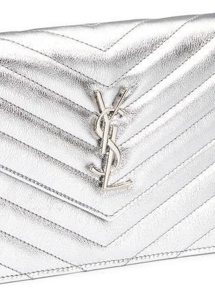 Detail View - Click To Enlarge - SAINT LAURENT - 'Monogram' metallic matelassé leather chain wallet