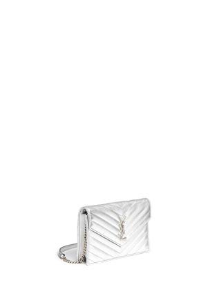 Front View - Click To Enlarge - SAINT LAURENT - 'Monogram' metallic matelassé leather chain wallet