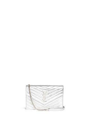 Main View - Click To Enlarge - SAINT LAURENT - 'Monogram' metallic matelassé leather chain wallet