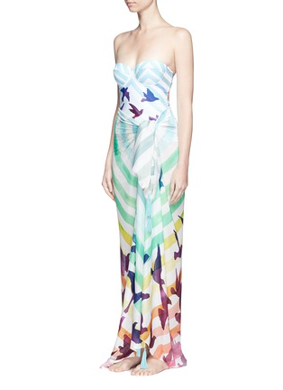 Detail View - Click To Enlarge - Mara Hoffman - Cutout back rainbow one-piece bustier swimsuit