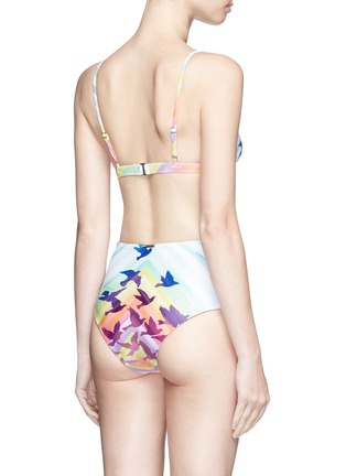 Back View - Click To Enlarge - Mara Hoffman - Lace-up rainbow print high waist bikini bottoms