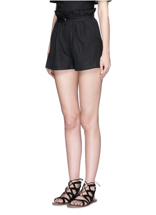 Front View - Click To Enlarge - Mara Hoffman - Ruffle paperbag waist linen-cotton mini shorts