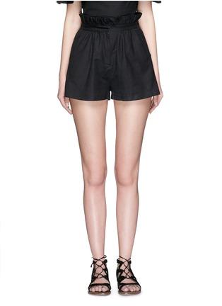 Main View - Click To Enlarge - Mara Hoffman - Ruffle paperbag waist linen-cotton mini shorts