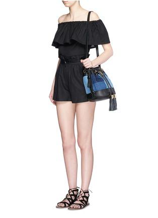 Figure View - Click To Enlarge - Mara Hoffman - Ruffle paperbag waist linen-cotton mini shorts