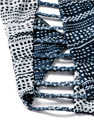 Detail View - Click To Enlarge - MARA HOFFMAN - 'Peacock Stripe' print braided lattice swimsuit