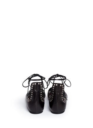 Back View - Click To Enlarge - ISABEL MARANT - 'Leo' grommet topline leather lace-up ballet flats