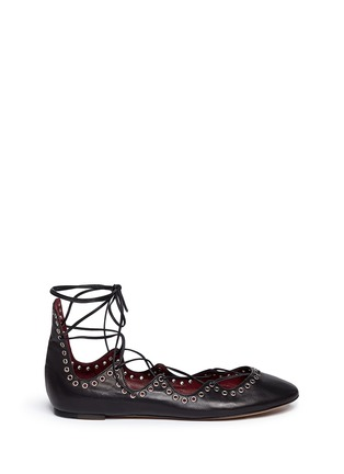 Main View - Click To Enlarge - ISABEL MARANT - 'Leo' grommet topline leather lace-up ballet flats