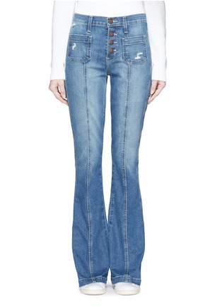 Main View - Click To Enlarge - Current/Elliott - 'The Judy Flare' high waist distressed denim pants