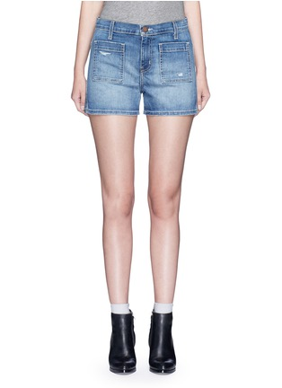 Main View - Click To Enlarge - Current/Elliott - 'The Westward' high waist distressed denim shorts