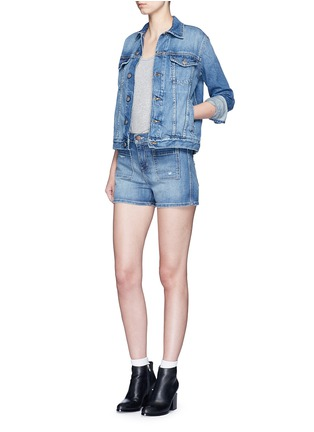 Figure View - Click To Enlarge - Current/Elliott - 'The Westward' high waist distressed denim shorts