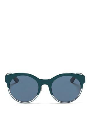 Main View - Click To Enlarge - Dior - 'Sideral 1' metallic rim acetate cat eye sunglasses