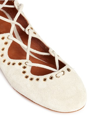 Detail View - Click To Enlarge - Isabel Marant - 'Leo' grommet suede lace-up ballet flats
