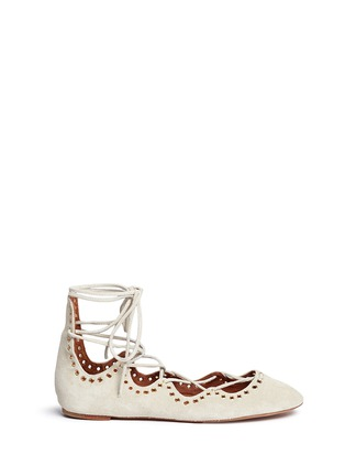 Main View - Click To Enlarge - Isabel Marant - 'Leo' grommet suede lace-up ballet flats