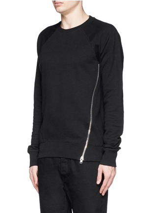 Front View - Click To Enlarge - SIKI IM / DEN IM - Asymmetric zip ribbed side sweatshirt