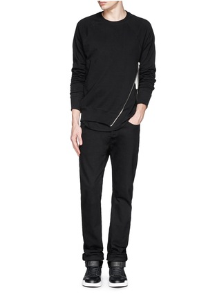 Figure View - Click To Enlarge - SIKI IM / DEN IM - Asymmetric zip ribbed side sweatshirt