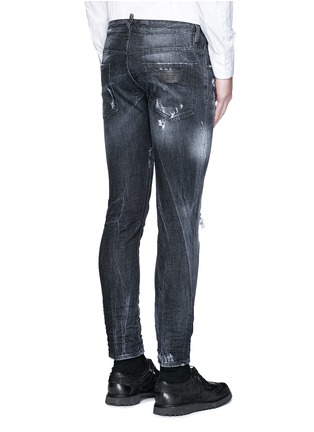 Back View - Click To Enlarge - Dsquared2 - 'Clement' shot wash slim fit jeans