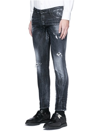 Front View - Click To Enlarge - Dsquared2 - 'Clement' shot wash slim fit jeans
