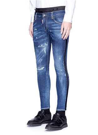 Front View - Click To Enlarge - Dsquared2 - Slim fit contrast waist layered jeans