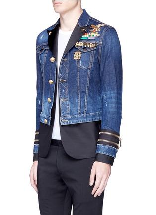 Front View - Click To Enlarge - 71465 - Blazer underlay denim military jacket