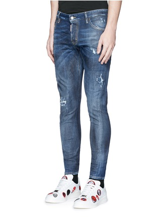 Front View - Click To Enlarge - 71465 - 'Sexy Twist' rip and repair slim fit jeans