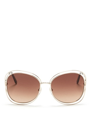 Main View - Click To Enlarge - CHLOÉ - 'Carlina' overlap wire rim sunglasses