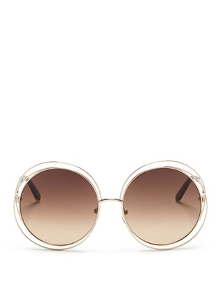 Main View - Click To Enlarge - Chloé - 'Carlina' overlap wire rim round sunglasses