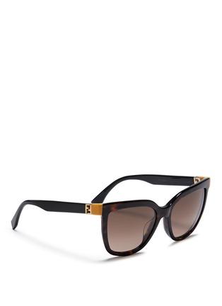 Figure View - Click To Enlarge - FENDI - Colourblock temple tortoiseshell acetate sunglasses