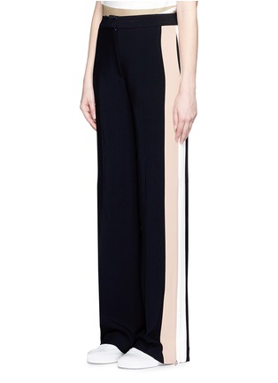 Front View - Click To Enlarge - MSGM - Double stripe outseam zip cady pants