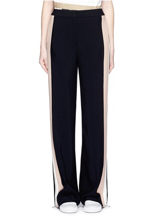 Main View - Click To Enlarge - MSGM - Double stripe outseam zip cady pants