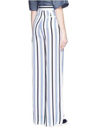 Back View - Click To Enlarge - MSGM - Multi stripe silk wide leg pants