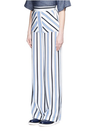 Front View - Click To Enlarge - MSGM - Multi stripe silk wide leg pants